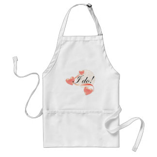Wedding Vow I Do Hearts Frilly Lace Standard Apron