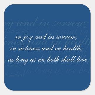 Wedding Vow In Sickness Blue Square Sticker