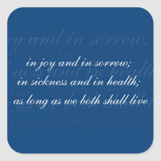 Wedding Vow In Sickness Blue Square Stickers