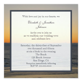 Wedding Vow Renewal Gorgeous Sunset on Water Card