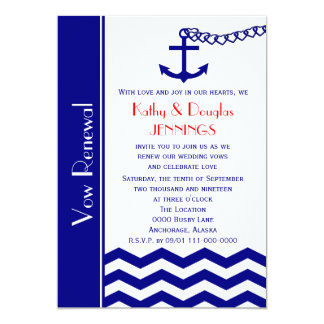 Wedding Vow Renewal Invitations -- Nautical Navy