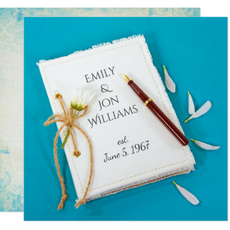 wedding vow renewal- journal with daisy and pen card