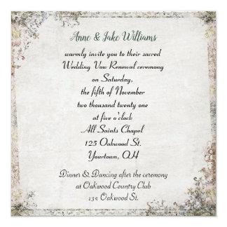 wedding vow renewal old-fashioned floral border card