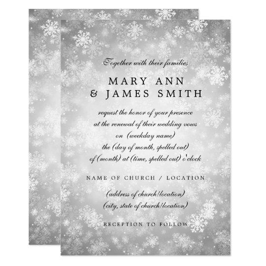 Wedding Vow Renewal Silver Winter Wonderland Card