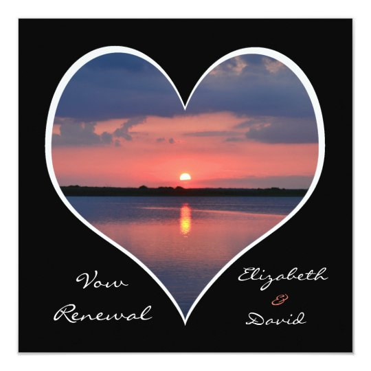 Wedding Vow Renewal Sunset in Heart on Black Card