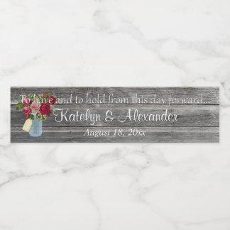 Wedding Vows Rose Bouquet Mason Jar Water Bottle Label