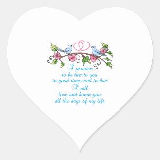 WEDDING VOWS HEART STICKER