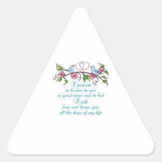 WEDDING VOWS TRIANGLE STICKER