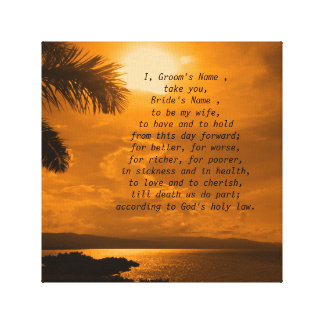 Wedding Vows Word Art Picture Canvas Print