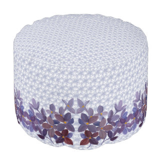 Wedding watercolor flowers with lace pattern pouf
