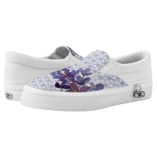 Wedding watercolor flowers with lace pattern printed shoes