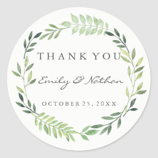 Wedding Watercolor Leaf Wreath Thank You Sticker
