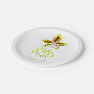 Wedding watercolor orchid custom paper plate 7 inch paper plate