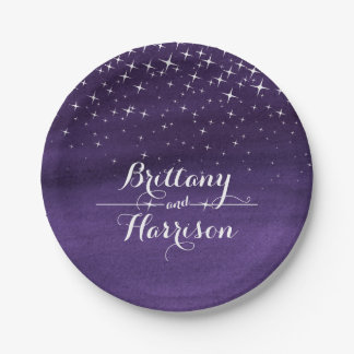 Wedding watercolor starry night custom paper plate