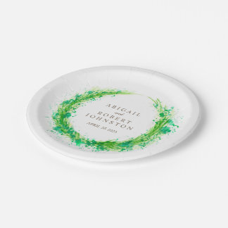Wedding watercolor wreath personalized paper plate 7 inch paper plate