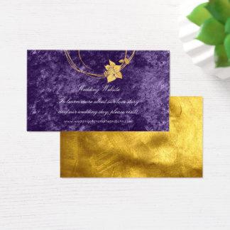 Wedding Website Purple Gold Floral Velvet Violet Business Card