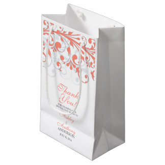 Wedding Welcome Bag Abstract Floral Coral Grey