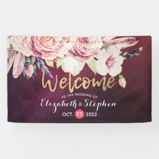 Wedding Welcome Boho Floral Feathers Burgundy Red Banner