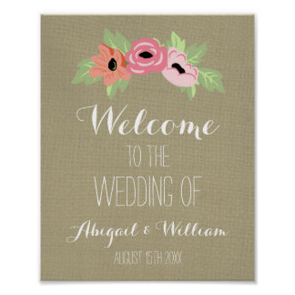 Wedding Welcome Custom Sign Burlap Spring Floral
