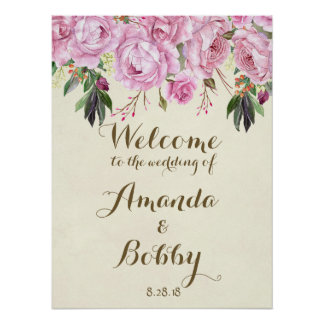 Wedding welcome sign lilac floral lavender
