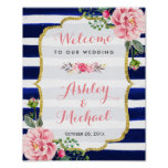 Wedding Welcome Sign Pink Floral Navy Stripes Poster