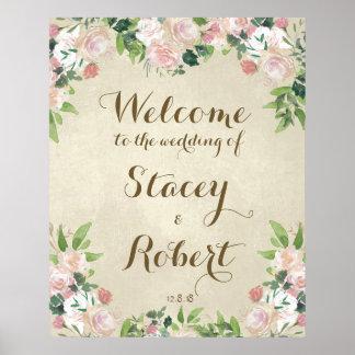 Wedding welcome sign vintage elegant floral poster