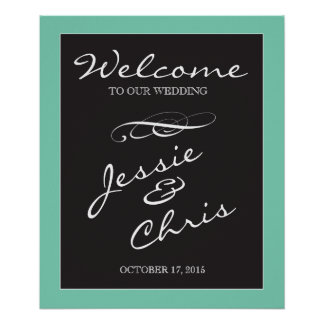 Wedding Welcome sign white on black custom border Poster