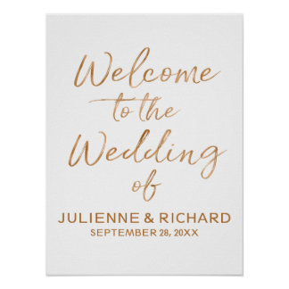 Wedding Welcome Stylish Rose Gold Lettered Sign
