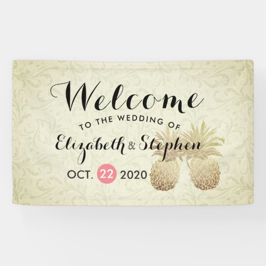 Wedding Welcome Vintage Gold Foil Pineapple Couple Banner