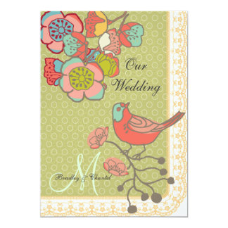Wedding Whimsy Birds 5x7 Custom Wedding Invitation