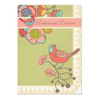 Wedding Whimsy Birds Rehearsal Dinner Card
