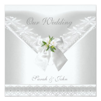 Wedding White Invitation White Bow Floral lace