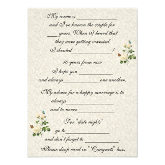 Wedding, White Roses, Marriage Advice 14 Cm X 19 Cm Invitation Card