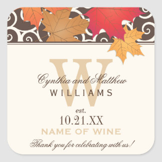 Wedding Wine Bottle Favor Labels | Fall Theme