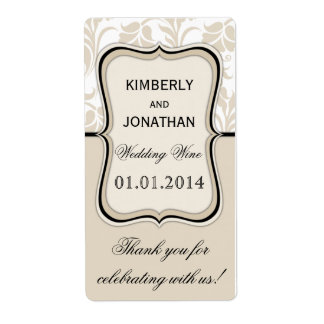 Wedding wine bottle label Elegant beige and black