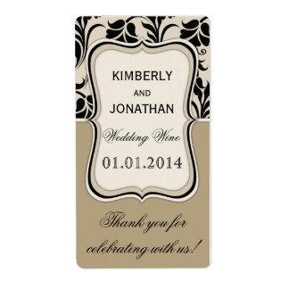 Wedding wine bottle label Elegant beige and black Shipping Label