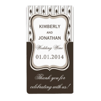 Wedding wine bottle label Elegant brown and white Shipping Label