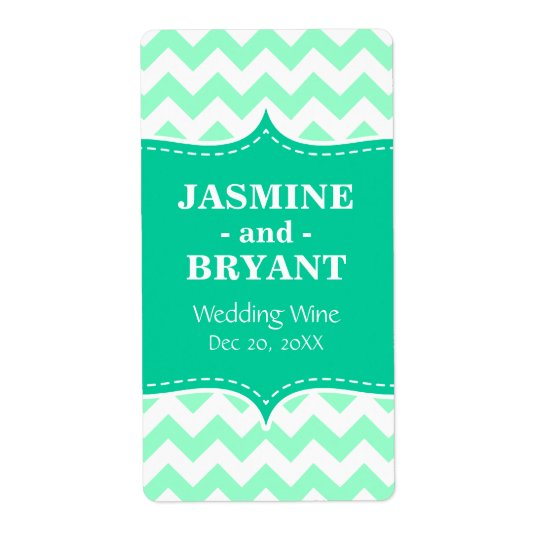Wedding Wine Bottle Mint Chevron Pattern Favour