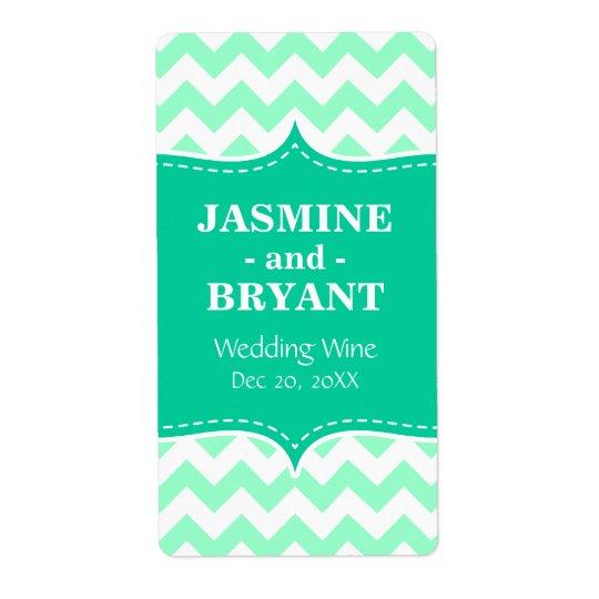 Wedding Wine Bottle Mint Chevron Pattern Favour Shipping Label