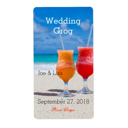 Wedding Wine / Drink Labels Tropical Theme