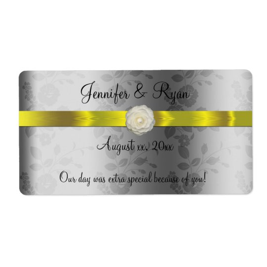 Wedding Wine, Elegant Yellow and Silver, Custom Shipping Label