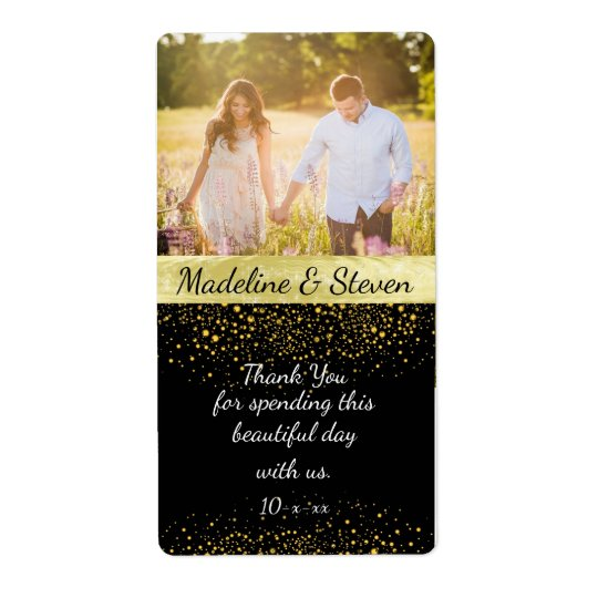 Wedding Wine, Gold Confetti, Custom Photo