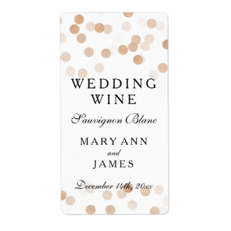 Wedding Wine Label Faux Copper Foil Glitter Lights Shipping Label
