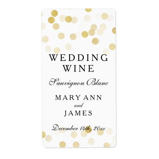 Wedding Wine Label Faux Gold Foil Glitter Lights