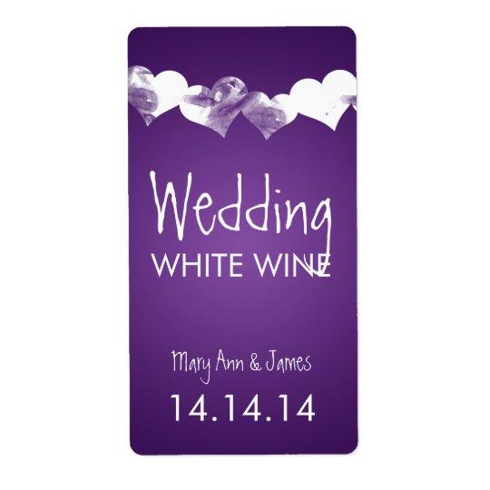 Wedding Wine Label Grunge Hearts Purple