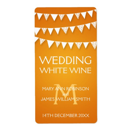 Wedding Wine Label Love Bunting Monogram Orange