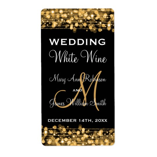 Wedding Wine Label Party Sparkles Gold