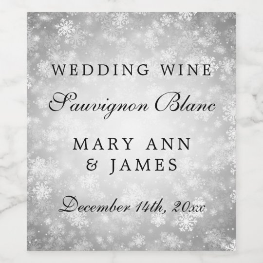 Wedding Wine Label Silver Winter Wonderland