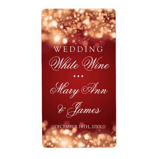 Wedding Wine Label Sparkling Lights Gold