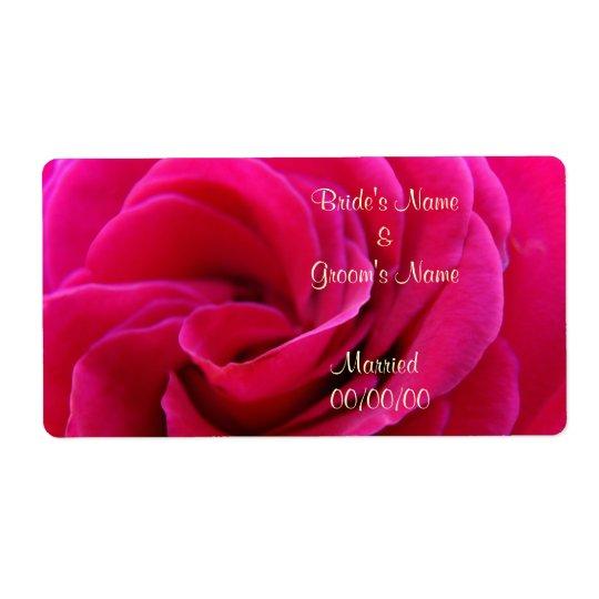 Wedding Wine labels custom Rose Bride Groom Name
